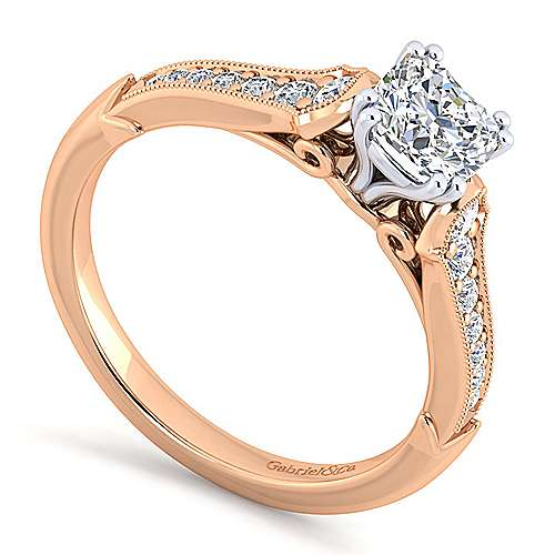 Hollis 14k White And Rose Gold Cushion Cut Straight Engagement Ring angle 3