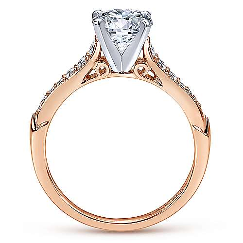 Hollis 14k White And Rose Gold Round Straight Engagement Ring angle 2