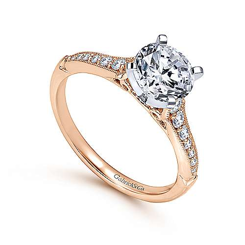 Hollis 14k White And Rose Gold Round Straight Engagement Ring angle 3