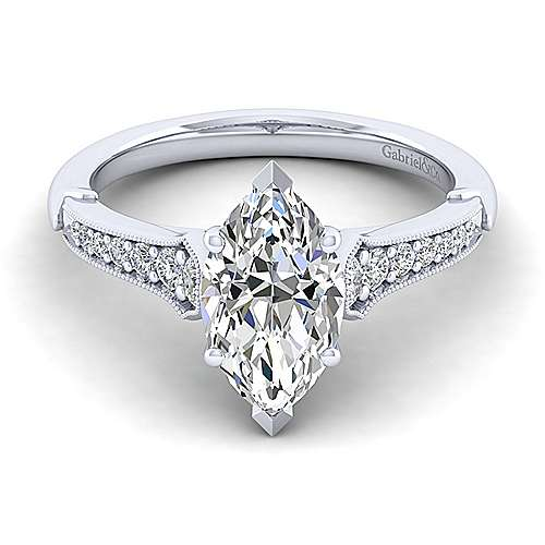 Gabriel - Hollis 14k White Gold Marquise  Straight Engagement Ring