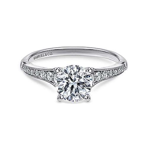 Gabriel - Hollis 14k White Gold Round Straight Engagement Ring