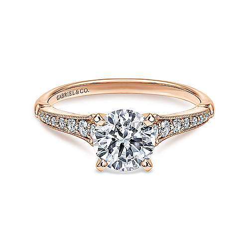 Gabriel - Hollis 14k White/pink Gold Round Straight Engagement Ring