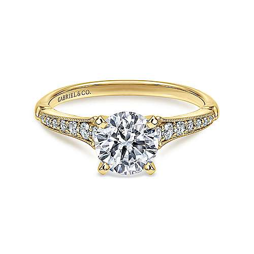 Gabriel - Hollis 14k Yellow/white Gold Round Straight Engagement Ring