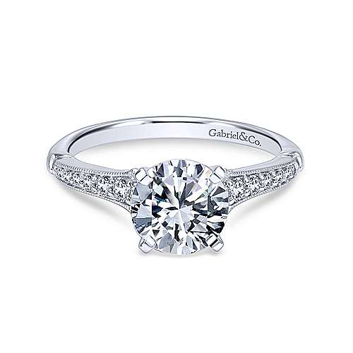 Gabriel - Hollis 18k White Gold Round Straight Engagement Ring