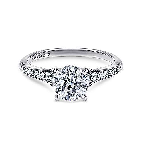 Gabriel - Hollis Platinum Round Straight Engagement Ring