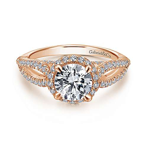 Gabriel - Holly 14k Rose Gold Round Halo Engagement Ring