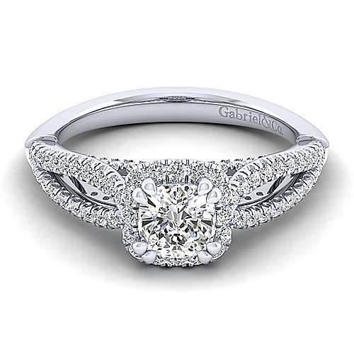 Gabriel - Holly 14k White Gold Cushion Cut Halo Engagement Ring