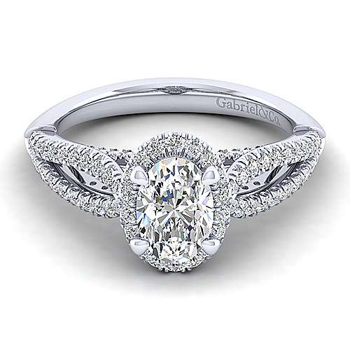 Gabriel - Holly 14k White Gold Oval Halo Engagement Ring