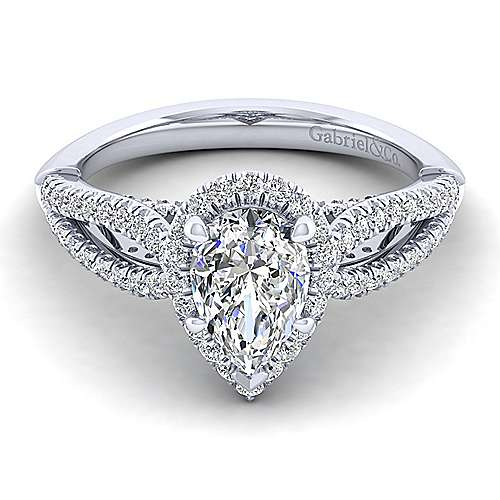 Gabriel - Holly 14k White Gold Pear Shape Halo Engagement Ring