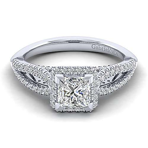 Gabriel - Holly 14k White Gold Princess Cut Halo Engagement Ring