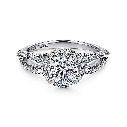 Gabriel - Holly 14k White Gold Round Halo Engagement Ring