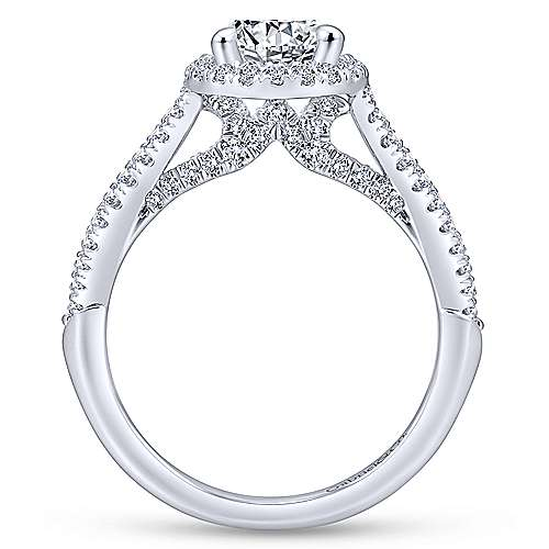 Holly 14k White Gold Round Halo Engagement Ring angle 2