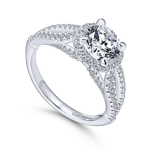 Holly 14k White Gold Round Halo Engagement Ring angle 3