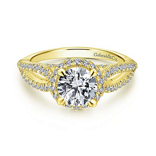 Gabriel - Holly 14k Yellow Gold Round Halo Engagement Ring