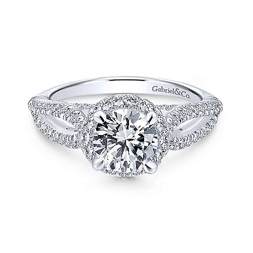 Gabriel - Holly 18k White Gold Round Halo Engagement Ring