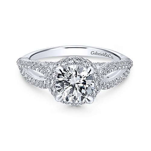 Gabriel - Holly Platinum Round Halo Engagement Ring