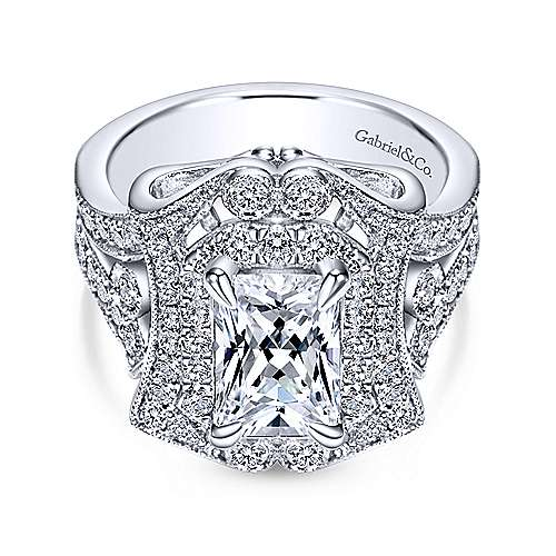 Honest 18k White Gold Emerald Cut Halo Engagement Ring angle 1