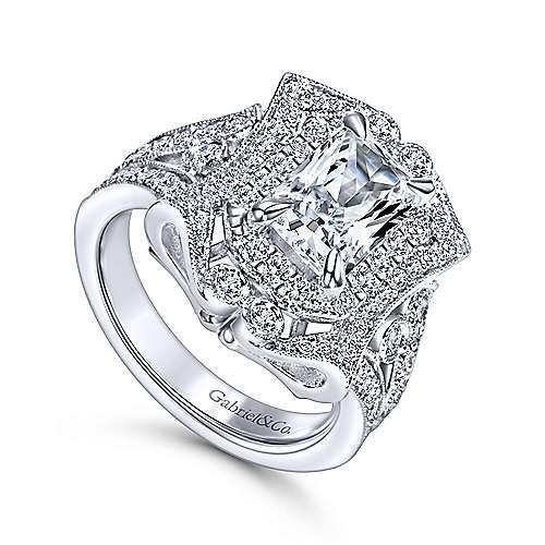 Honest 18k White Gold Emerald Cut Halo Engagement Ring angle 3