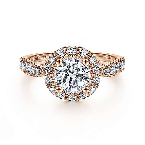 Gabriel - Honey 14k Rose Gold Round Halo Engagement Ring
