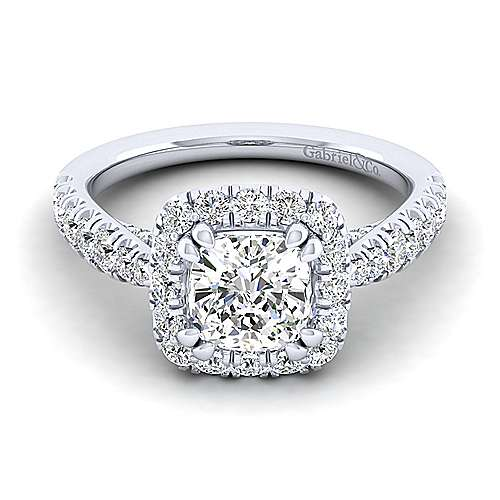Gabriel - Honey 14k White Gold Cushion Cut Halo Engagement Ring