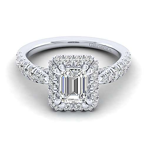 Gabriel - Honey 14k White Gold Emerald Cut Halo Engagement Ring