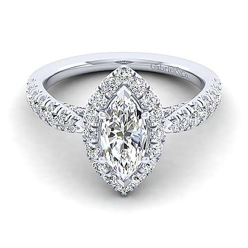 Gabriel - Honey 14k White Gold Marquise  Halo Engagement Ring