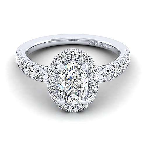Gabriel - Honey 14k White Gold Oval Halo Engagement Ring
