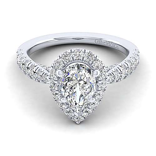 Gabriel - Honey 14k White Gold Pear Shape Halo Engagement Ring