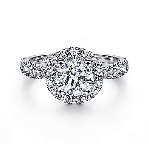 Honey 14k White Gold Round Halo Engagement Ring
