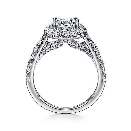 Honey 14k White Gold Round Halo Engagement Ring angle 2