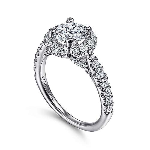 Honey 14k White Gold Round Halo Engagement Ring angle 3