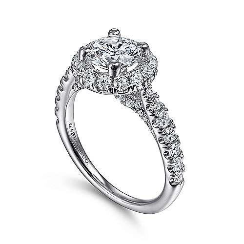 Honey 14k White Gold Round Halo Engagement Ring angle 3