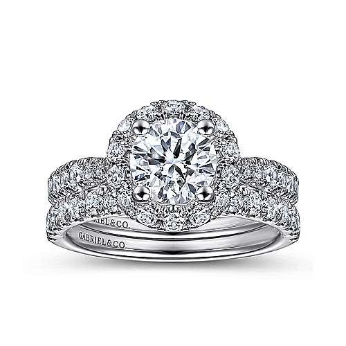 Honey 14k White Gold Round Halo Engagement Ring angle 4