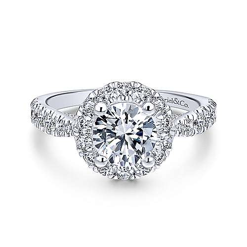 Gabriel - Honey Platinum Round Halo Engagement Ring