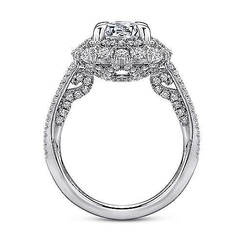 Honeymoon 18k White Gold Round Double Halo Engagement Ring angle 2