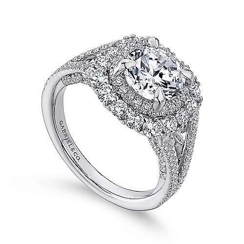Honeymoon 18k White Gold Round Double Halo Engagement Ring angle 3