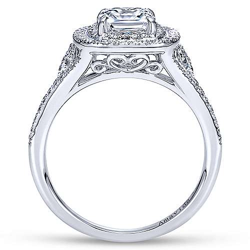 Honor 18k White Gold Cushion Cut Double Halo Engagement Ring angle 2