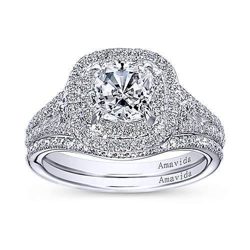 Honor 18k White Gold Cushion Cut Double Halo Engagement Ring angle 4