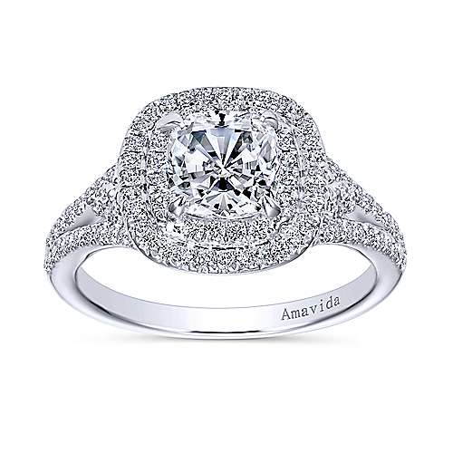 Honor 18k White Gold Cushion Cut Double Halo Engagement Ring angle 5