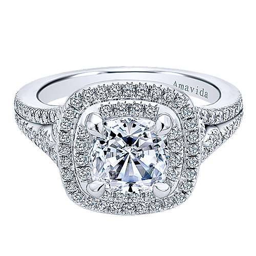 Gabriel - Honor 18k White Gold Cushion Cut Double Halo Engagement Ring