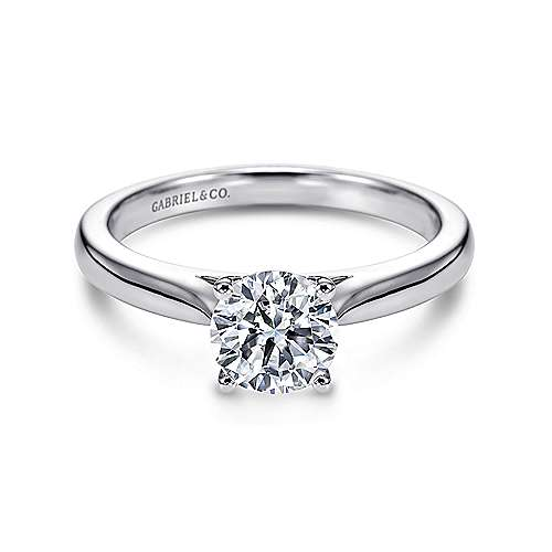 Gabriel - Honora 14k White Gold Round Solitaire Engagement Ring