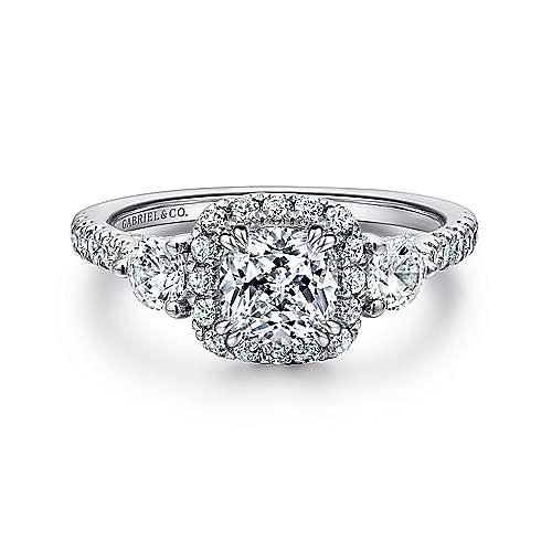 Hope 14k White Gold Cushion Cut 3 Stones Halo Engagement Ring Angle 1