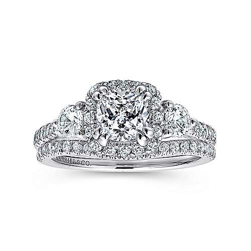 Genial Hope 14k White Gold Cushion Cut 3 Stones Halo Engagement Ring Angle 4