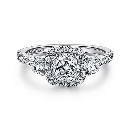Gabriel - Hope 14k White Gold Cushion Cut Halo Engagement Ring