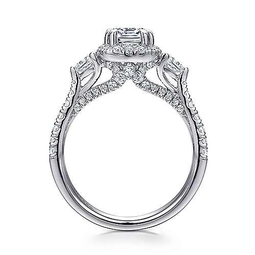 Hope 14k White Gold Cushion Cut Halo Engagement Ring angle 2