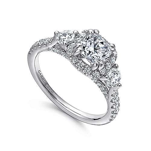 Hope 14k White Gold Cushion Cut Halo Engagement Ring angle 3