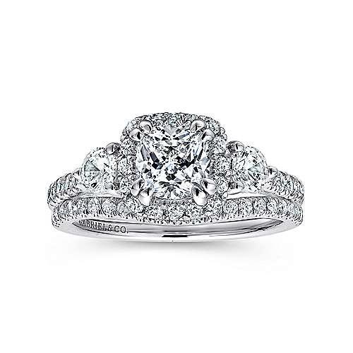 Hope 14k White Gold Cushion Cut Halo Engagement Ring angle 4
