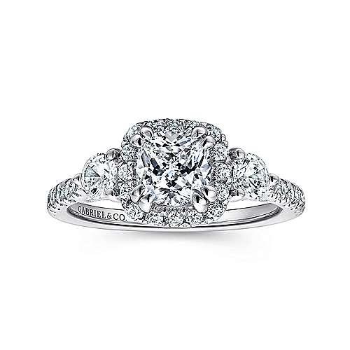 Hope 14k White Gold Cushion Cut Halo Engagement Ring angle 5