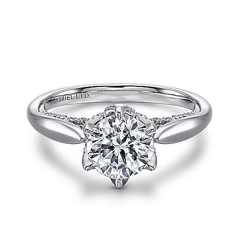 Hortensia 18k White Gold Round Straight Engagement Ring angle 1
