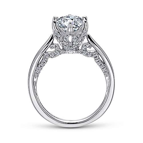Hortensia 18k White Gold Round Straight Engagement Ring angle 2
